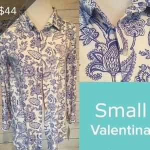New Lularoe VALENTINA S shirt button Floral blue